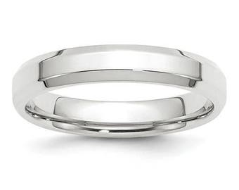 New 10K Solid White Gold 4mm Comfort Fit Bevel Edge Wedding Band Ring Sizes 4-14