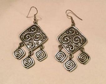 Ancient Scroll Design Dangle Earrings