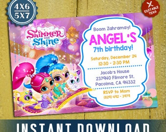 Shimmer and Shine Invitation, Shimmer and Shine Birthday, Shimmer and Shine, Editable Invitation, Editable PDF Template, Instant Download