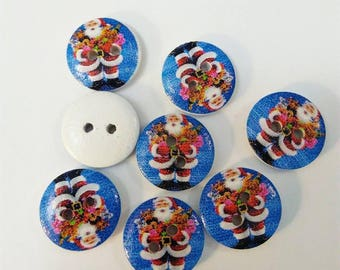Set of 8 Santa red and white on blue pattern wooden buttons