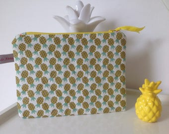 Pouch bag case pineapple quilted cotton