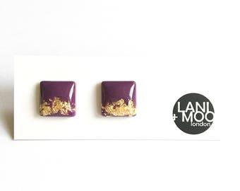 Square Purple Resin Stud Metallic Gold Leaf Statement Earrings!