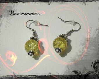 Yellow cracked glass bead earrings