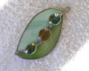 women gift, in shades of green stained glass necklace