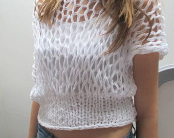 white tee shirt, sleeveless, mesh knit sweater, mothers day gift