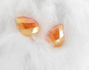 A set of 2 glass Teardrop beads faceted orange AB.