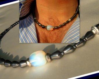 COLLIER homme Pierre perles naturelles Opale & Hématite,collier boho, mala, surfeur, bijoux protection, cadeau homme .Camelys Bijoux