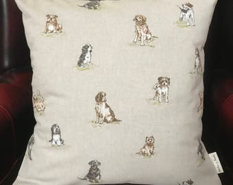 DOGS  CUSHION COVER   [with Cream  back ]   16X16