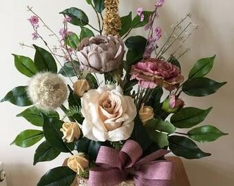 Artificial Flower Arrangements in Vintage tones