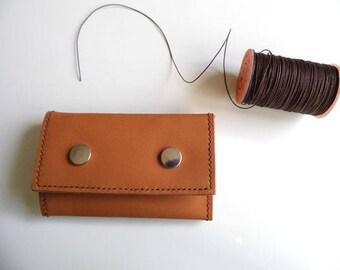 Keychain leather genuine caramel color