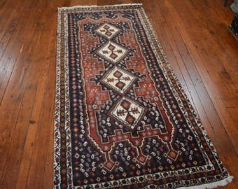 Vintage Persian Afshar Rug, 3'2''x7'4'', Burgundy/Green, All wool pile