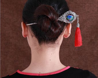 Vintage oriental exotic ethnic tribal classic miao silver embroidery hair pin stick jewelry red tassel cosplay party Valentines gift for her