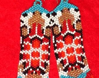 Native American Beaded Turtle Earrings