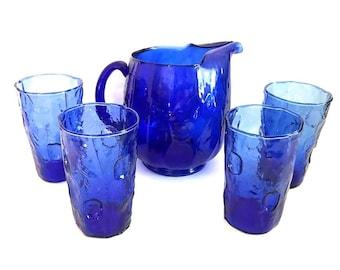 Vintage Thumbprint Blue Glass Pitcher & 4 Tumbler Set