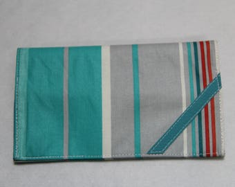 Checkbook turquoise striped coated canvas
