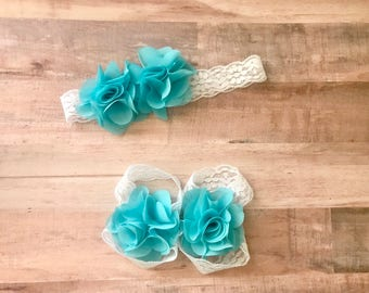 White and blue Sandals Baby Sandals Flower Headband Matching Baby Toddler Photo Prop Gift Keepsake Everyday Wear