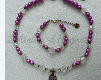 """""""Sweet"""" Plum""""bronze necklace set with""""miracle""""Plum colored beads"""