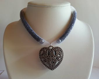 Wire mesh tubular with heart pendant necklace