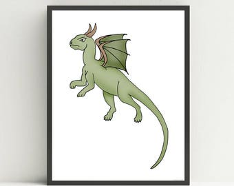 Dragon Nursery Art Print, Children's  Medieval Decor, Fairy Tale art, Kids Dragon Wall Art Print