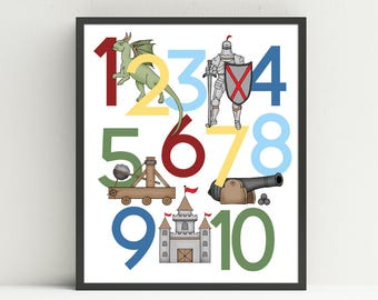 Knight Number Poster,  Knight nursery art, kids wall decor, 123 print, medieval decor, Choose your colors