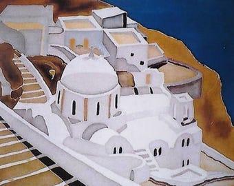 Photo - painting on silk - Santorini island - Greece map