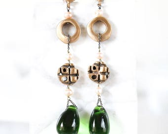 Totem Bronze earrings with Fresh Water pearls and Vintage Murano Drop
