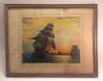Charming shabby chic WPA era sailing lithograph circa 1930s