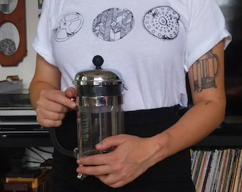 French Press Coffee Lovers Screen Printed White T-Shirt