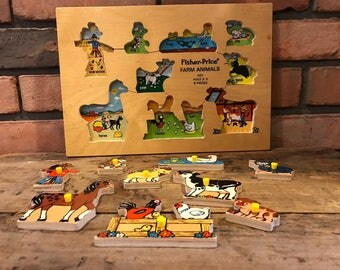 Vintage 1973 Fisher Price Farm Animals 507 Ages 2-5 9 pc Wooden Wood Puzzle