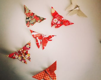 6 handmade origami butterflies (Japanese Washi paper)