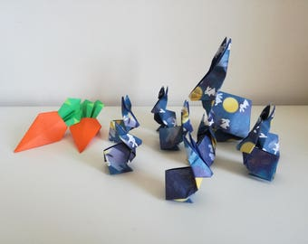 Handmade origami family of rabbits (mum & 8 baby rabbits)