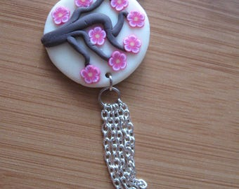 """Necklace chain and polymer clay """"white cherry"""" pink"""
