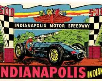Vintage Style Indiana Indianapolis Motor Speedway Travel Decal sticker