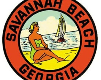 Vintage Style  Savannah Beach GA Georgia Tybee Island   Travel Decal sticker