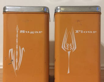 lincoln beautyware sugar flour orange tin canisters
