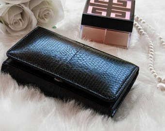 Small Leather Womens Snake Wallet, Genuine snake skin purse, gift for her