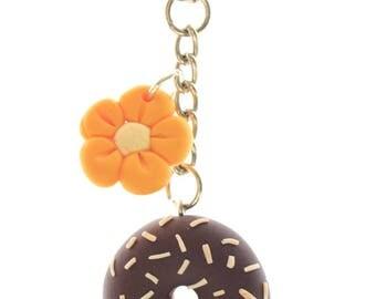 Chocolate donut polymer clay keychain