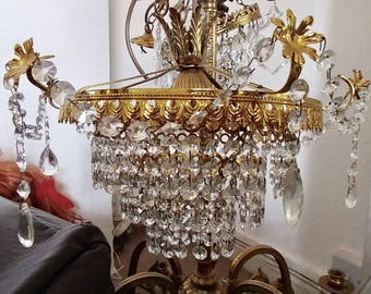 Crystal drop chandelier (French, 1940s)