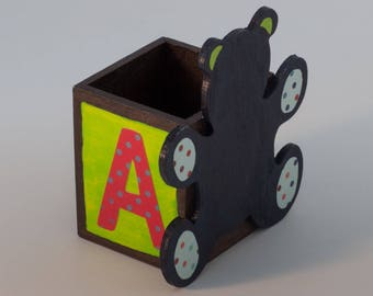 Red green blue bear pencil holder