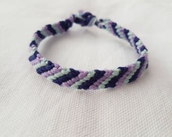 Made to order - 3 colour diagonally striped friendship bracelet (Narrow style)