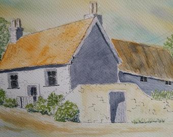 Original old english house watercolor