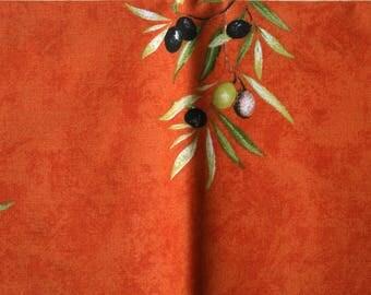 Pure cotton fabric 55cm x 77 cm orange pattern Provence olives