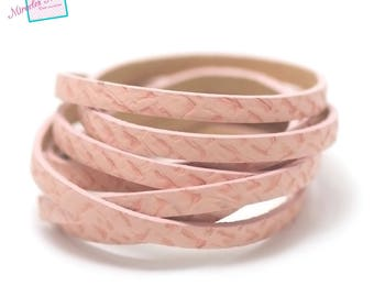 """1.15 m strip of split leather 5 """"scale Super"""" x 2 mm pink"""