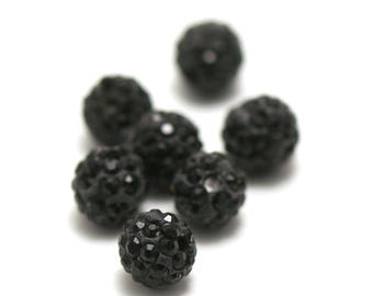 20 shamballa 10 mm black rhinestone beads