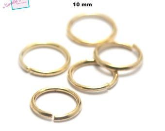100 split jump rings (open) 10 mm, gold