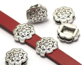 """4 beads women leather """"double flowers"""" 16x6mm, silver"""