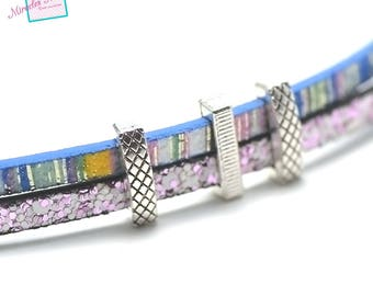 """10 pearls passing/slides for """"004a"""" leather strap, silver"""