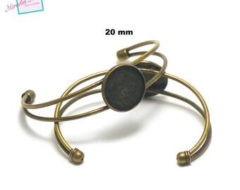 1 bracelet supports 20 mm round cabochon, bronze