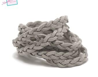 """1 meter """"braided"""" Suede, 5 x 2, 5 mm, grey"""