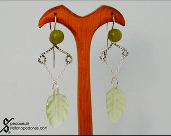 Orecchini argento con avventurina e foglia in new jade